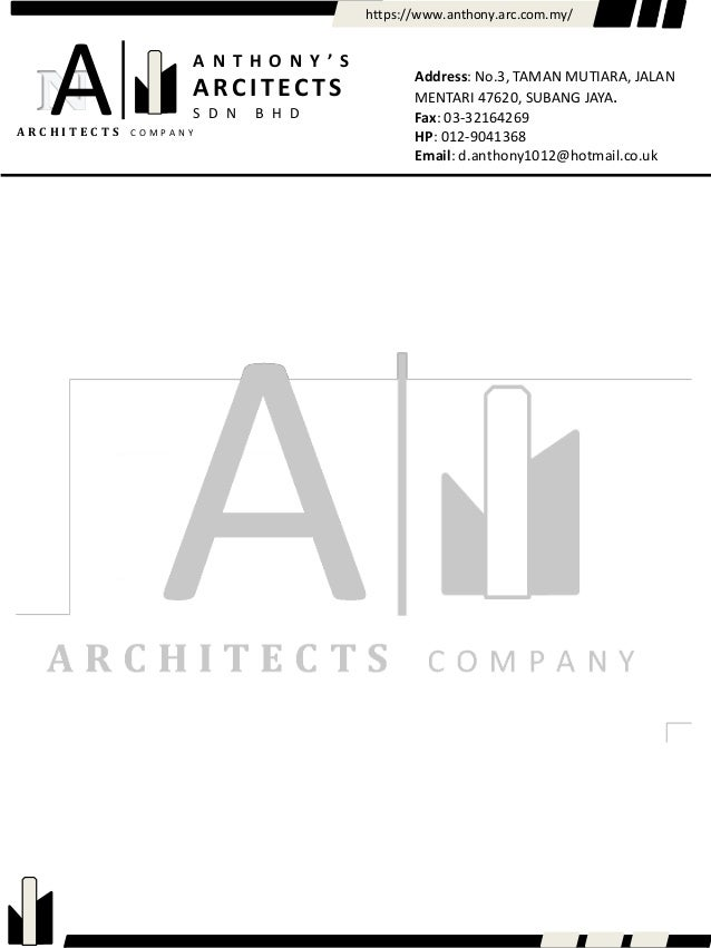 Anthony's architects letter head
