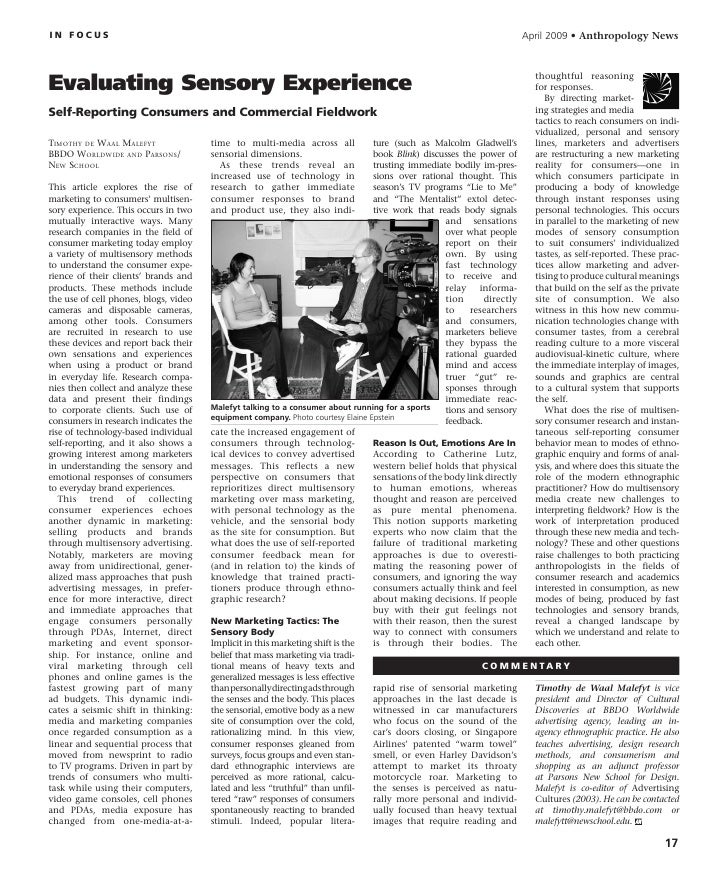 Anthropology news evaluating sensory experience