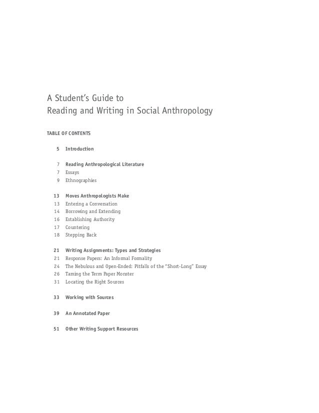 Cultural anthropology research paper