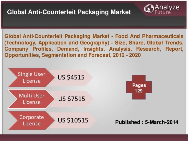 Global Anti-Counterfeit Packaging Market - Food And Pharmaceuticals (Technology, Application and Geography)