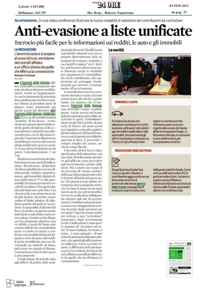Lettori: 1.015.000                                     03-FEB-2012Diffusione: 263.707   Dir. Resp.: Roberto Napoletano    ...