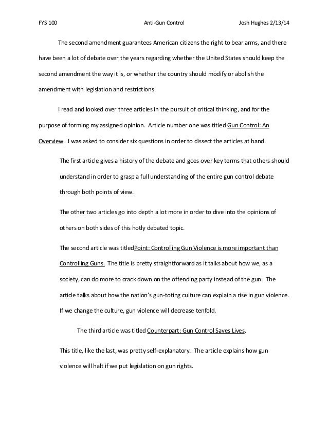 thesis statement for stricter gun control A good thesis statement for essay on gun control would be: gun laws are the cause of much of the violent crime in the united states and need to be changed in order.
