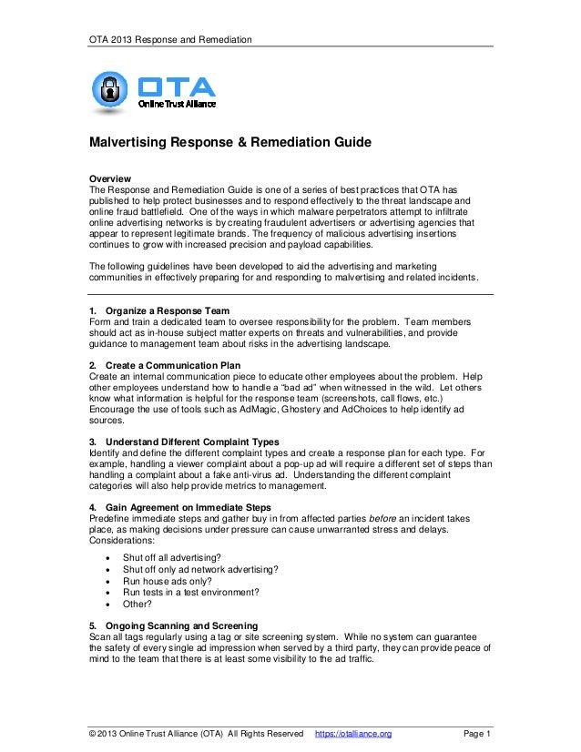 OTA 2013 Response and Remediation  Malvertising Response & Remediation Guide Overview The Response and Remediation Guide i...