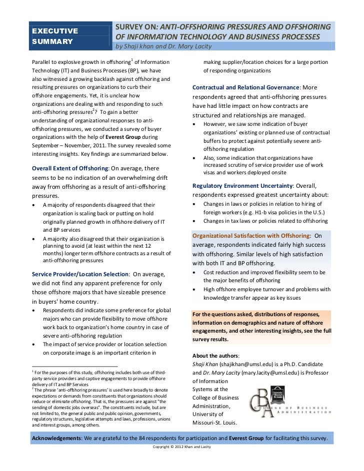 Anti-Offshoring Pressures and Offshoring of IT and Business Processes Survey Results