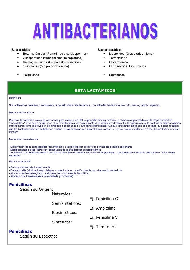 Bactericidas                                                                 Bacteriostáticos     • Beta-lactámicos (Penic...