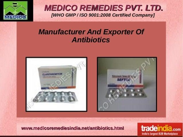 Antibiotics Exporter,Manufacturer,MEDICO REMEDIES PVT.LTD,Mumbai