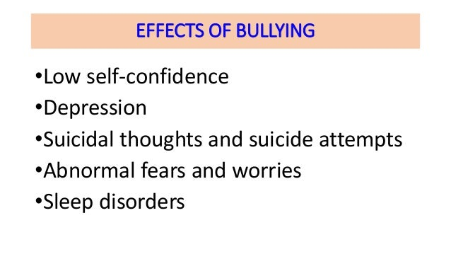 effects of bullying to students The impact on students and bullies according to the michigan association of school administrators, the effects of bullying extend far beyond the academic scope.