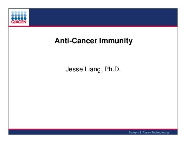 Anti-Cancer Immunity  Jesse Liang, Ph.D.  1 Sample & Assay Technologies