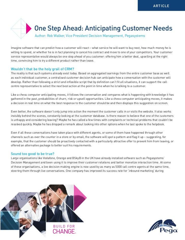 Anticipating Customer Needs