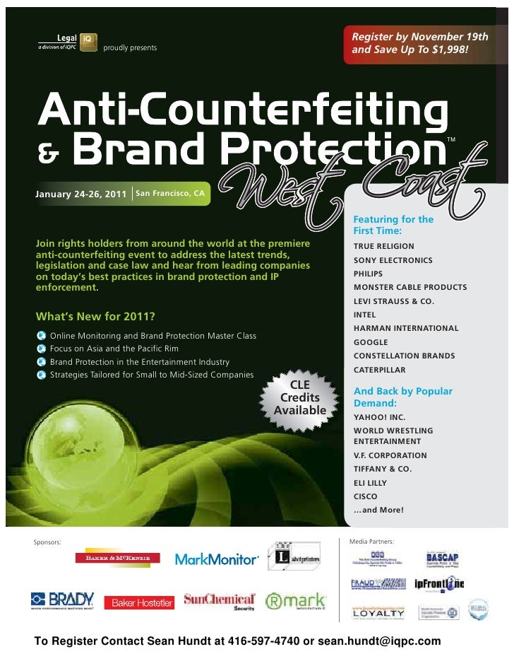 Anti Counterfeiting & Brand Protection West Coast