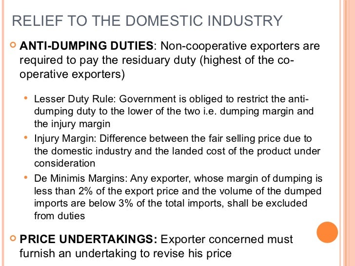 anti dumping essay Dumping is when a country sells exports below market value just to gain share here are the pros and cons, and anti-dumping measures.