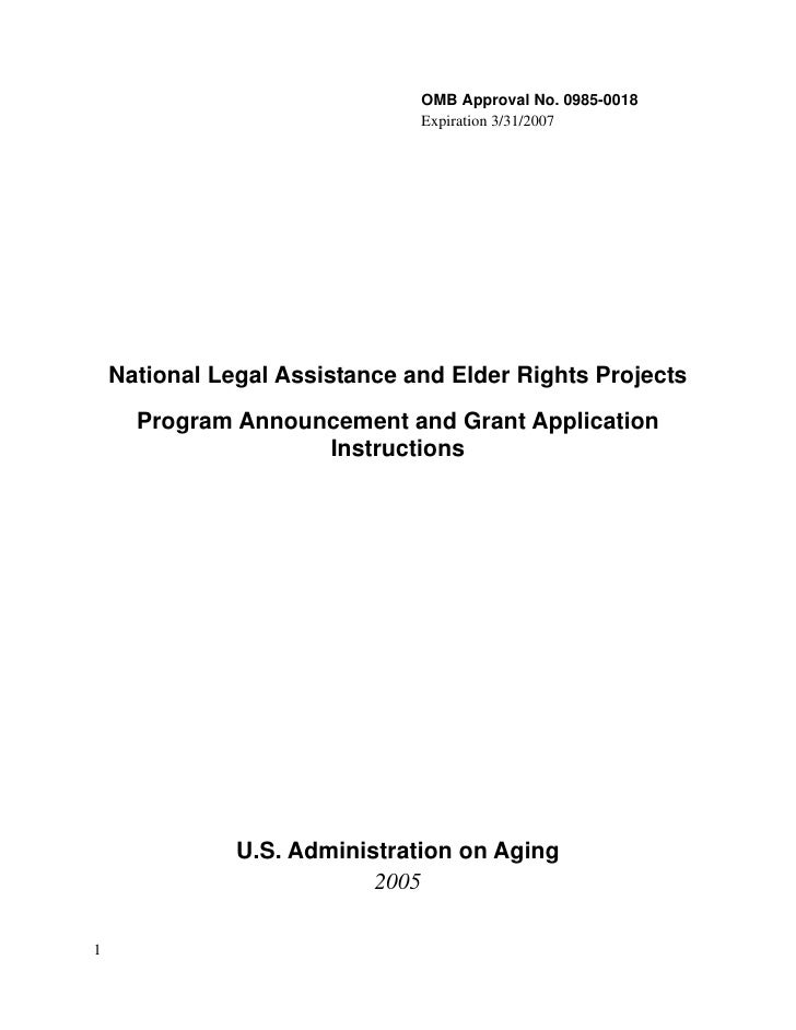 OMB Approval No. 0985-0018                                Expiration 3/31/2007         National Legal Assistance and Elder...