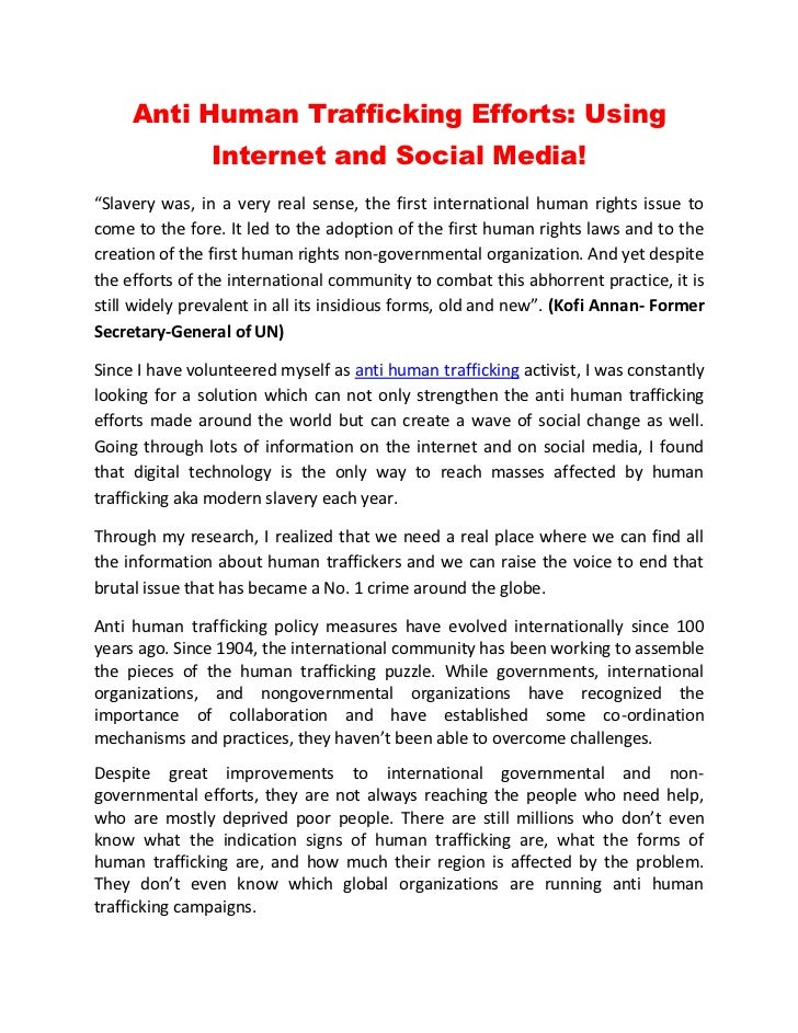 """Anti Human Trafficking Efforts: Using                Internet and Social Media!""""Slavery was, in a very real sense, the fir..."""