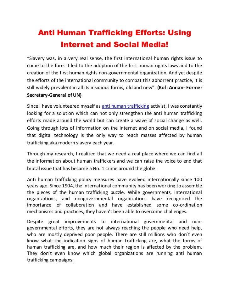 Anti Human Trafficking Efforts: Using Internet and Social Media!