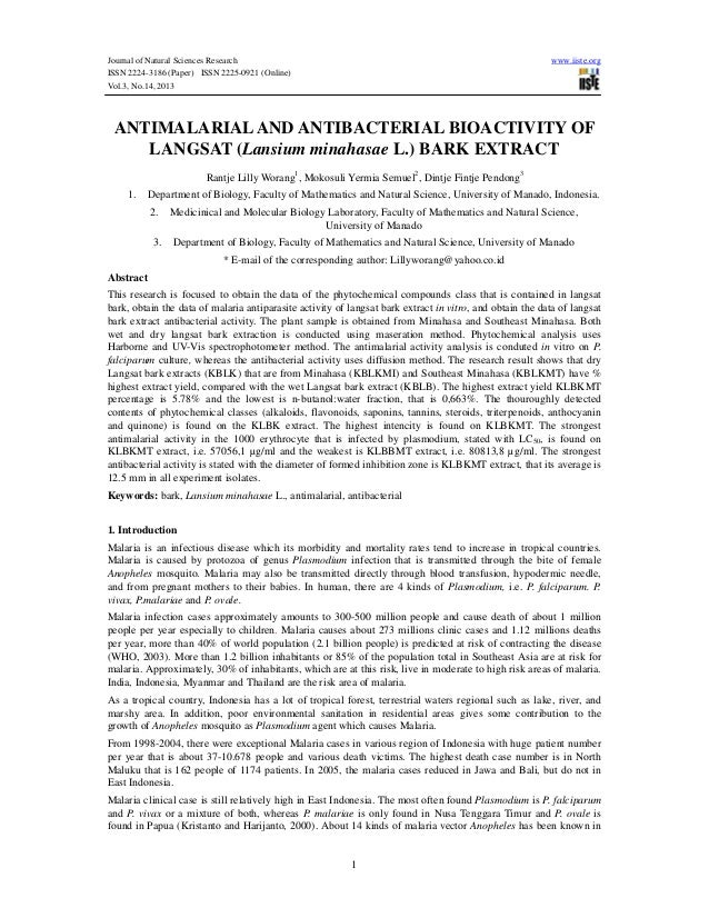 Journal of Natural Sciences Research ISSN 2224-3186 (Paper) ISSN 2225-0921 (Online) Vol.3, No.14, 2013  www.iiste.org  ANT...