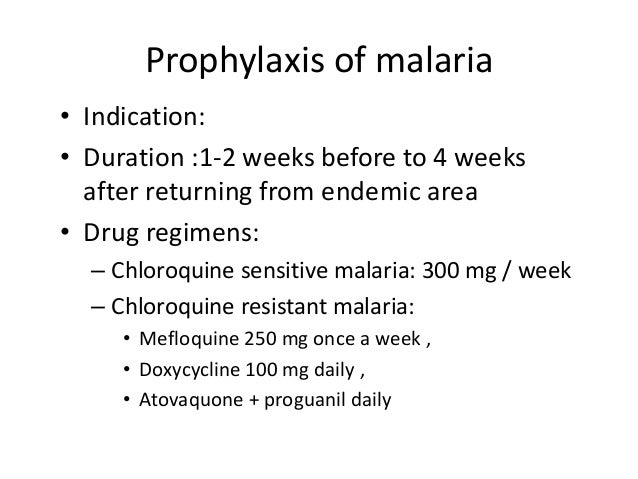 Drugs for malaria prophylaxis