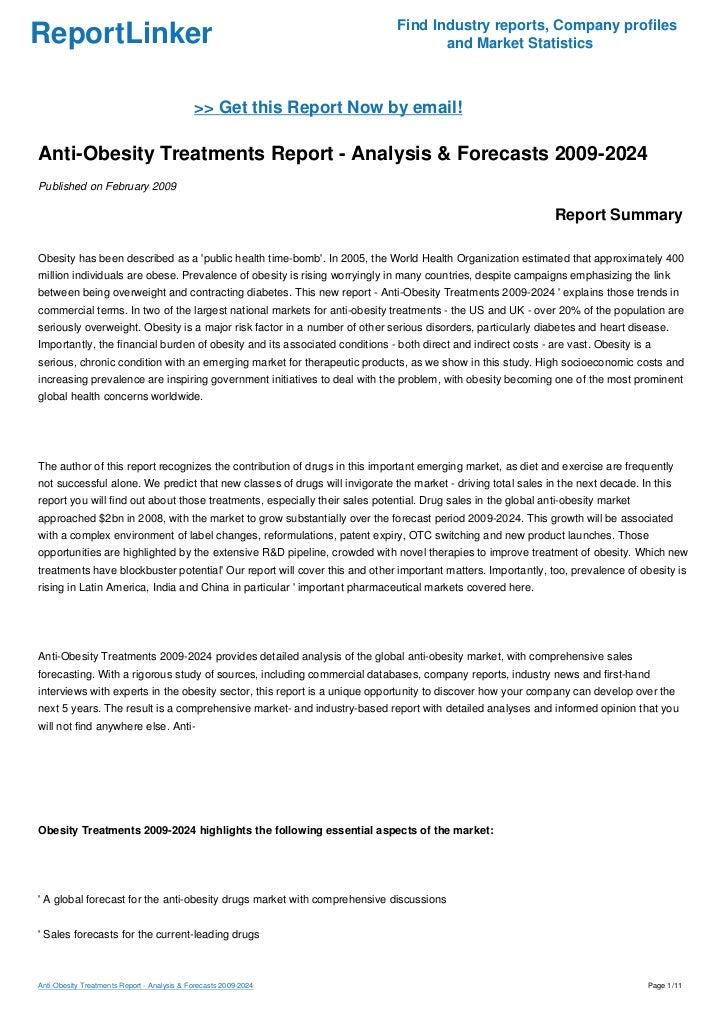 Anti-Obesity Treatments Report - Analysis & Forecasts 2009-2024