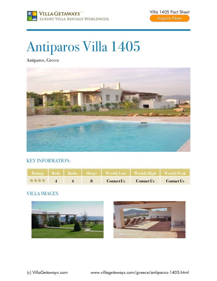 Villa 1405 Fact SheetAntiparos Villa 1405Antiparos, GreeceKEY INFORMATION:  Rating     Beds       Baths   Sleeps   Weekly ...