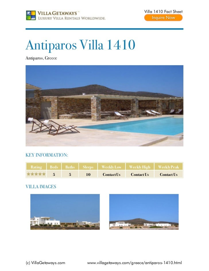 Villa 1410 Fact SheetAntiparos Villa 1410Antiparos, GreeceKEY INFORMATION:  Rating     Beds       Baths   Sleeps   Weekly ...