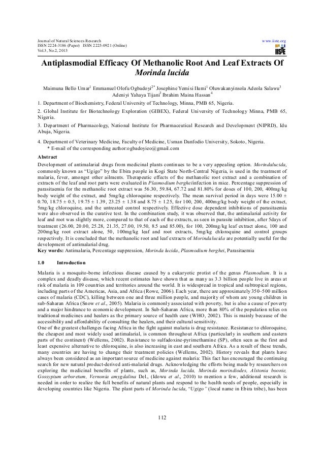 Antiplasmodial efficacy of methanolic root and leaf extracts of