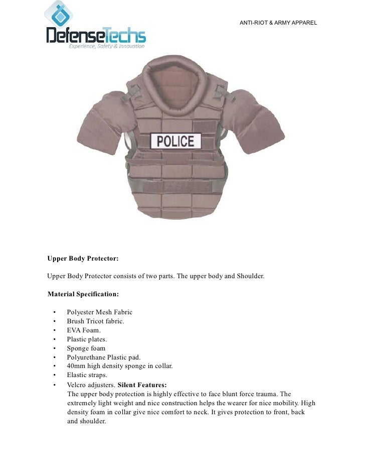 ANTI-RIOT & ARMY APPARELUpper Body Protector:Upper Body Protector consists of two parts. The upper body and Shoulder.Mater...