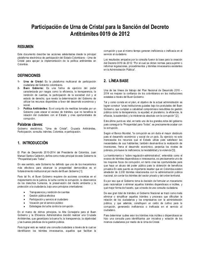 Participación de Urna de Cristal para la Sanción del Decreto                             Antitrámites 0019 de 2012RESUMEN ...
