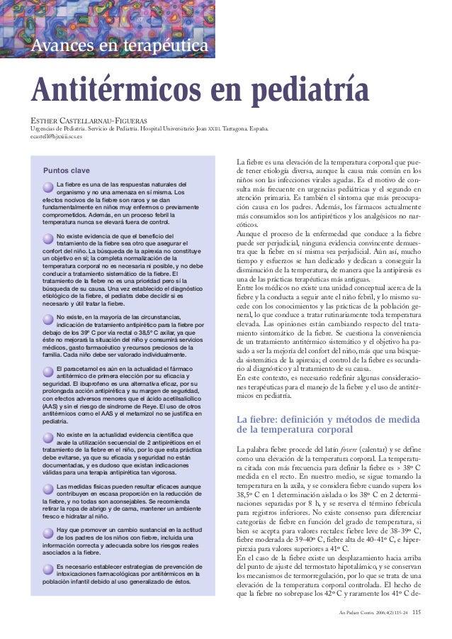 06_Avances….qxd      4/4/06      16:49      Página 115       Avances en terapéutica       Antitérmicos en pediatría       ...