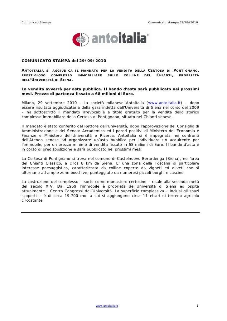Antoitalia - Comunicato stampa 29/09/2010 - Asta pubblica Certosa di Pontignano Siena