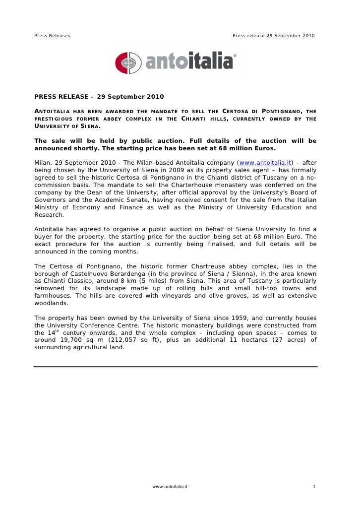 Antoitalia - Press Release 29 Sep 2010 - Auction Certosa di Pontignano Siena,  Tuscany