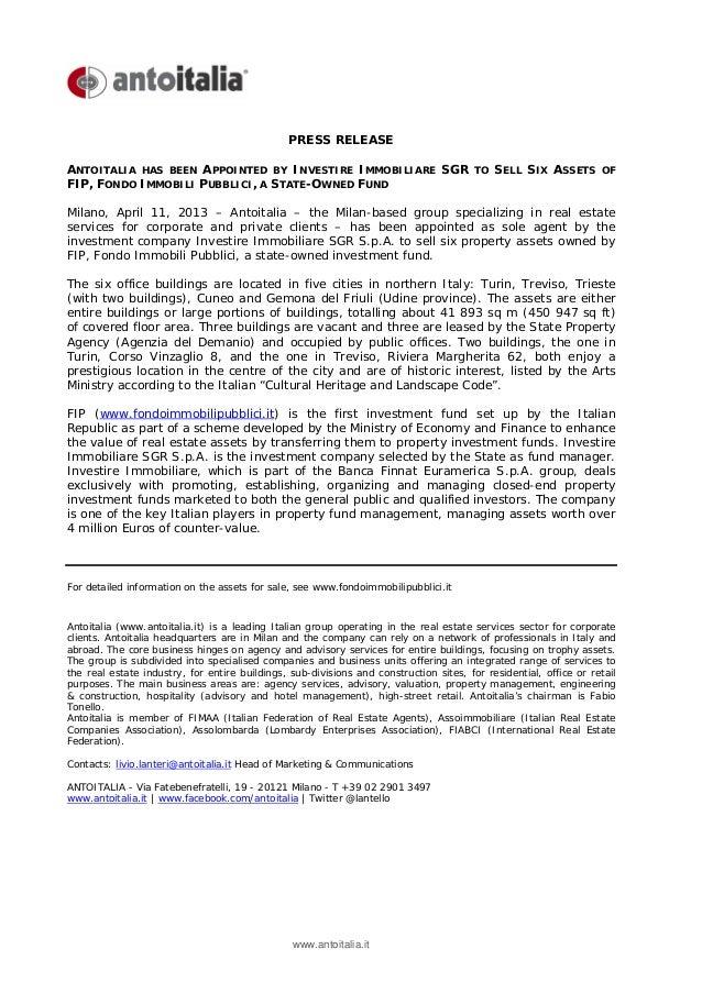 Antoitalia Press Release April 11 2013 FIP