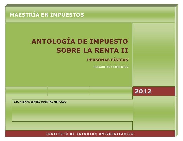 Antología de ISR II, personas físicas