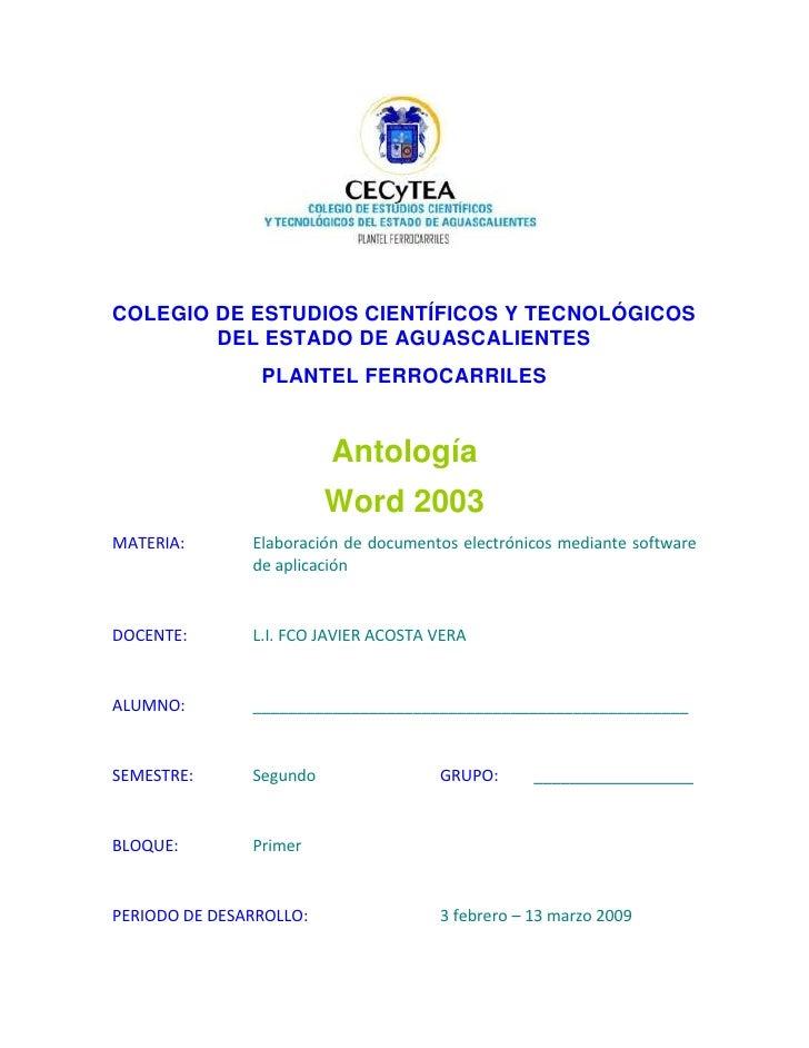 Antologia de word de CECYTEA