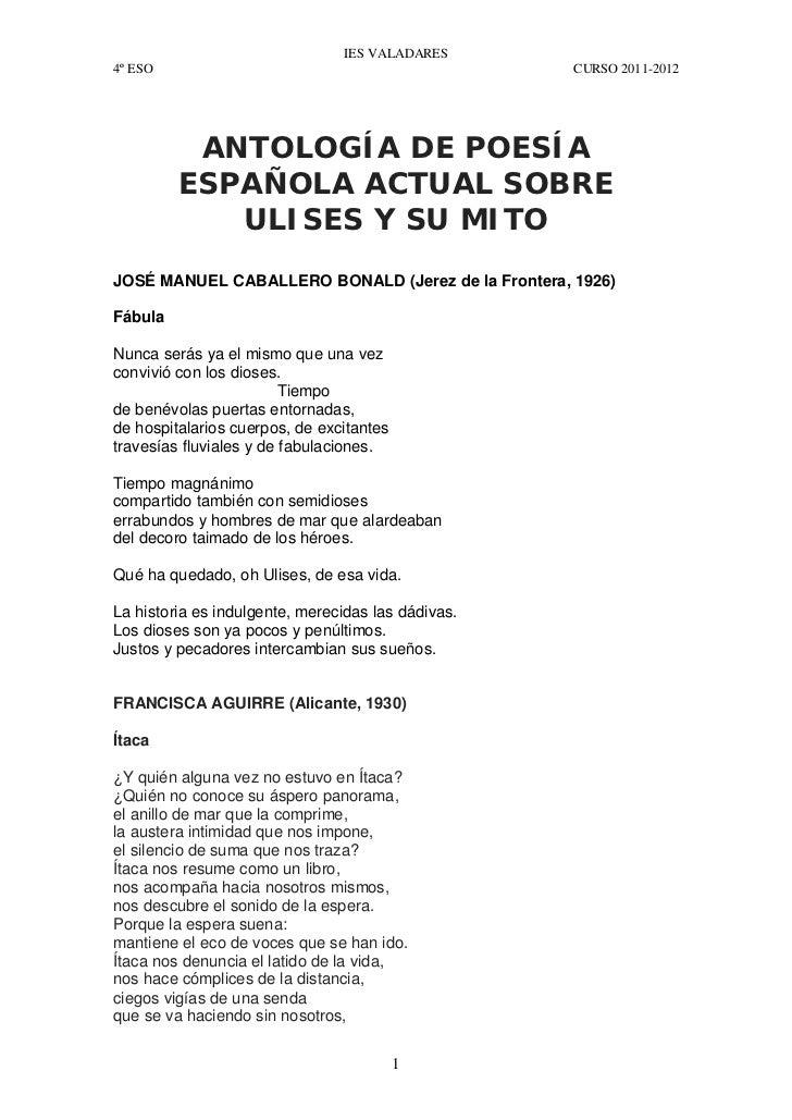 IES VALADARES4º ESO                                              CURSO 2011-2012          ANTOLOGÍA DE POESÍA         ESPA...