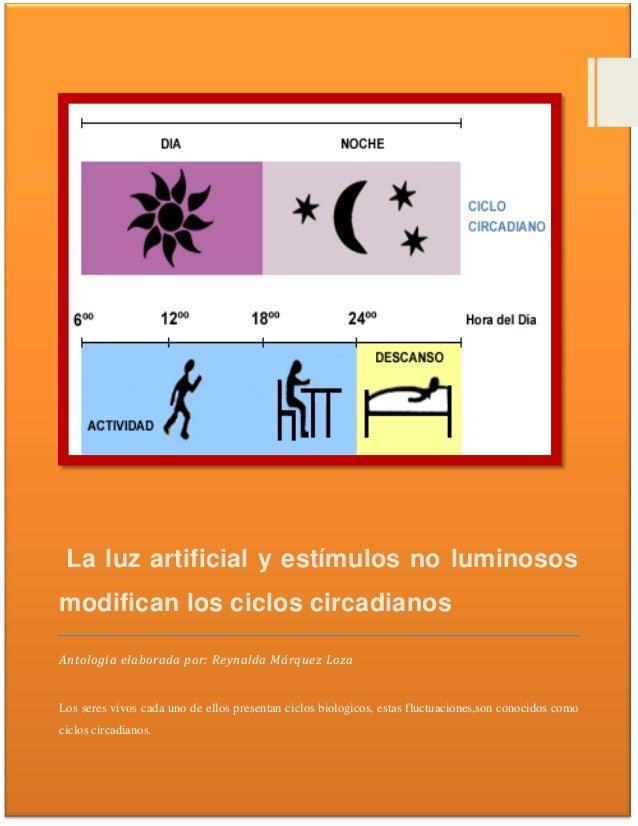 La luz artificial y estímulos no luminososmodifican los ciclos circadianosAntologia elaborada por: Reynalda Márquez LozaLo...