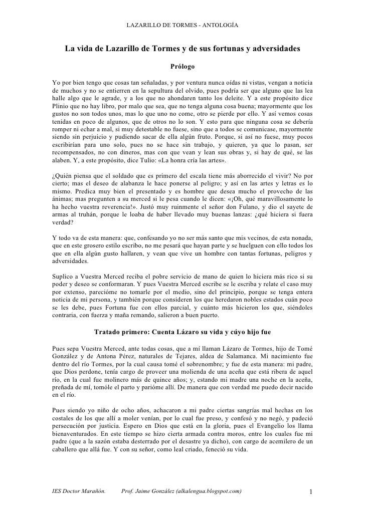 LAZARILLO DE TORMES - ANTOLOGÍA       La vida de Lazarillo de Tormes y de sus fortunas y adversidades                     ...