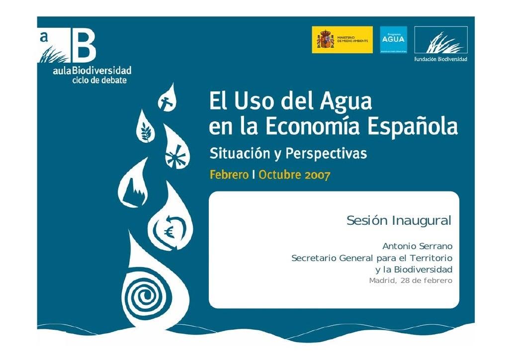 Antonio Serrano. Uso del agua en la Economía Española