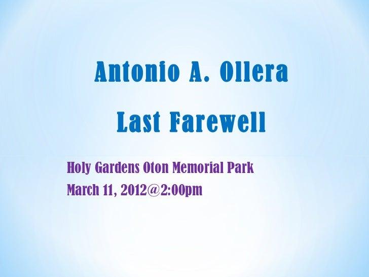 Antonio a. ollera's last farewell at holy gardens oton memorial park