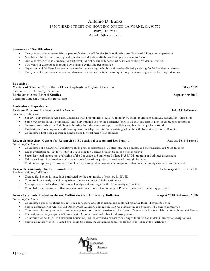 resident assistant resume the best letter sle