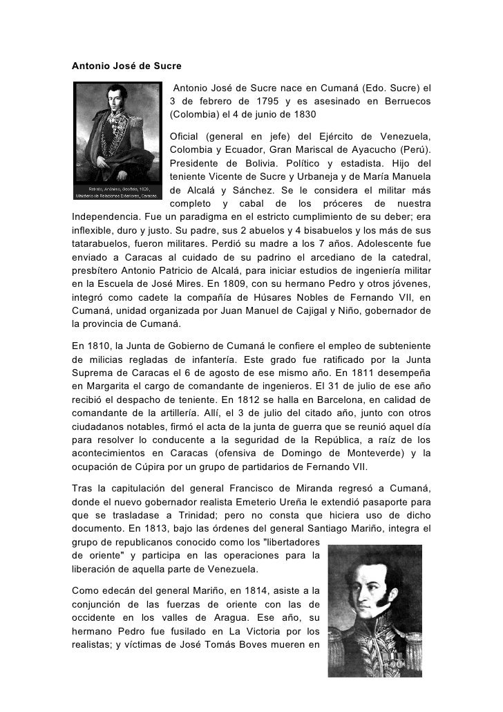 Antonio josé de sucre vida y obra