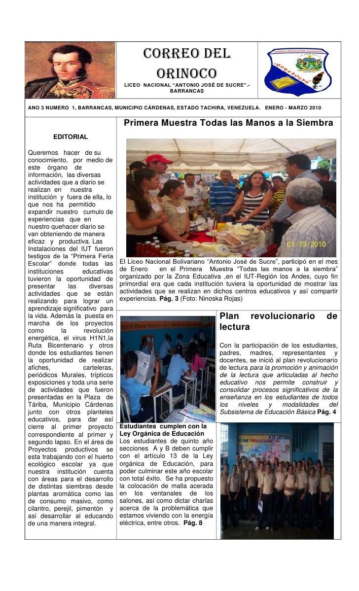 """-749308255Correo delOrinoco LICEO  NACIONAL """"ANTONIO JOSÉ DE SUCRE"""".-    BARRANCAS-584201130305585460762055854607620558546..."""