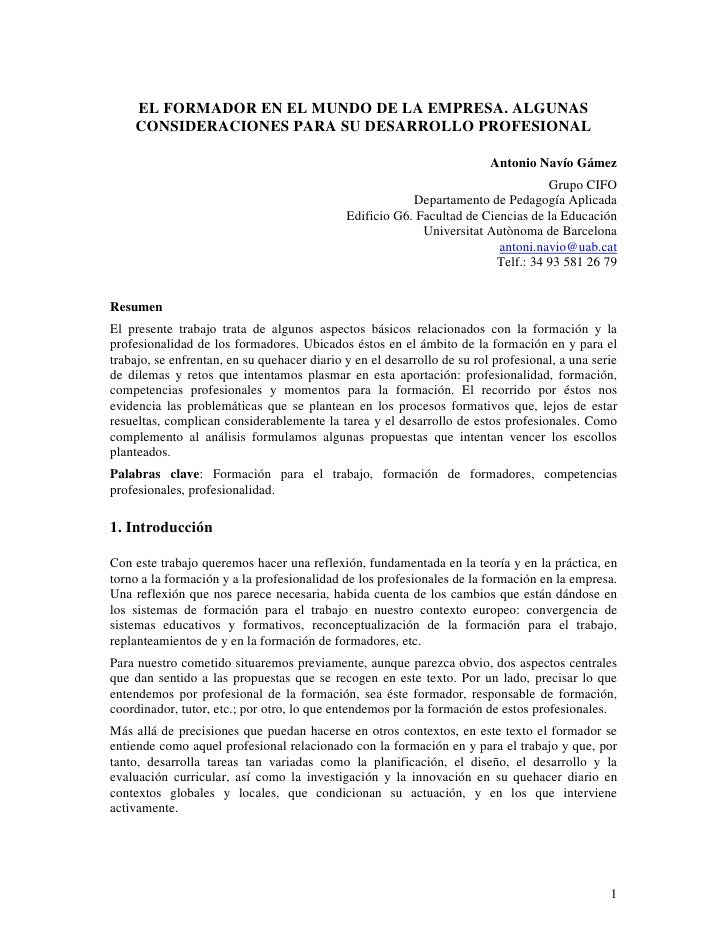 EL FORMADOR EN EL MUNDO DE LA EMPRESA. ALGUNAS     CONSIDERACIONES PARA SU DESARROLLO PROFESIONAL                         ...