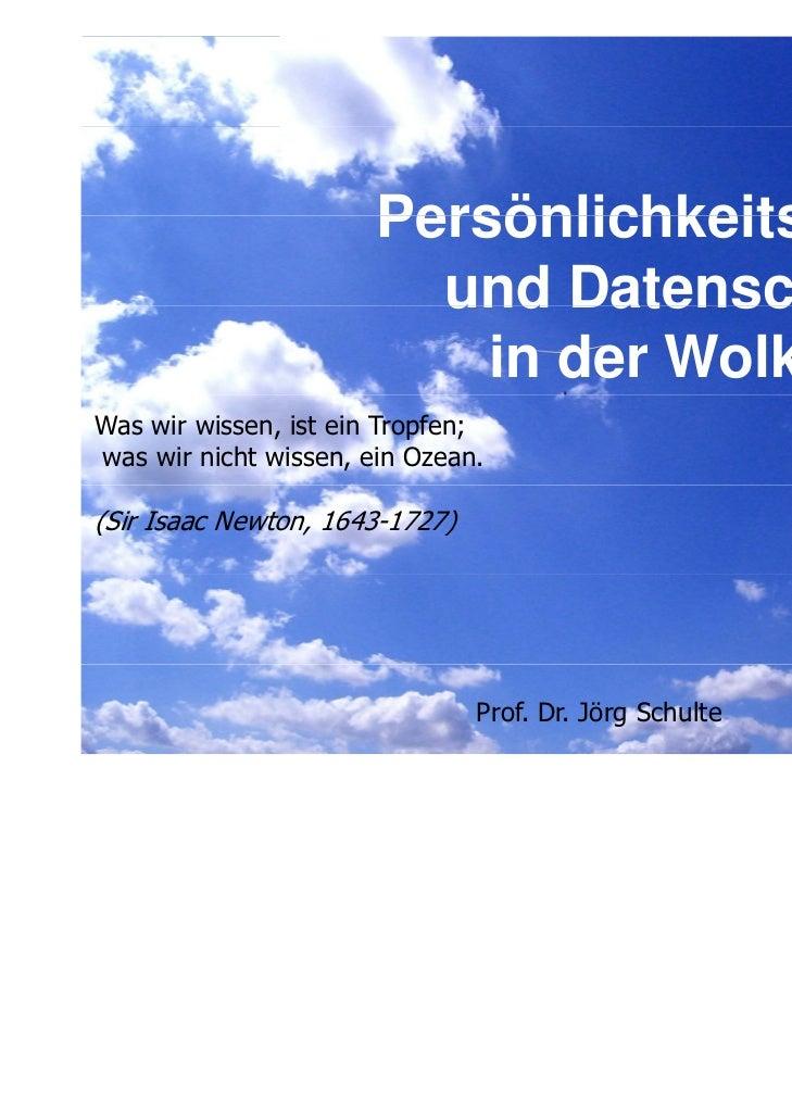 Persönlichkeitsrechte und Datenschutz in der Wolke?