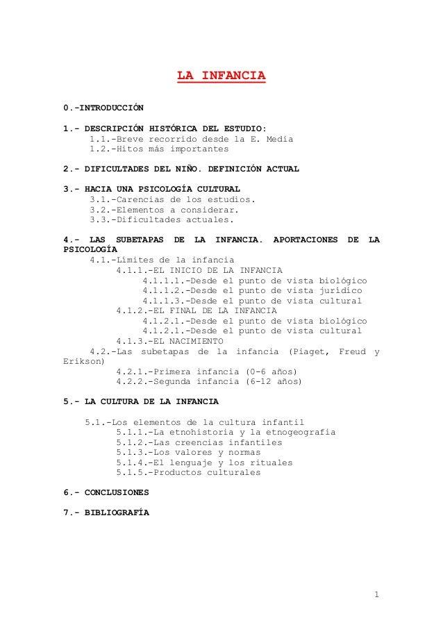 1 LA INFANCIA 0.-INTRODUCCIÓN 1.- DESCRIPCIÓN HISTÓRICA DEL ESTUDIO: 1.1.-Breve recorrido desde la E. Media 1.2.-Hitos más...