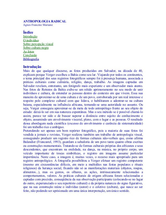 Antropologia  radical   agnes francine mariano
