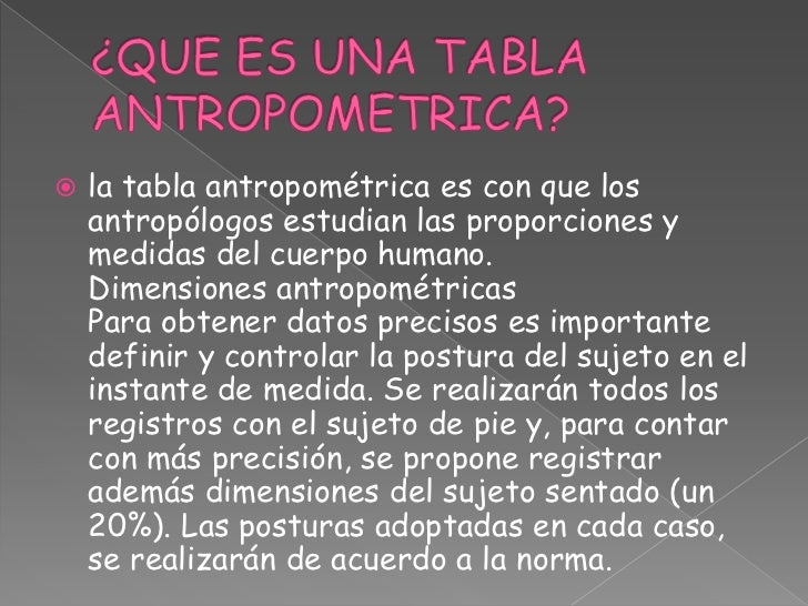Antropometria for Tabla de antropometria