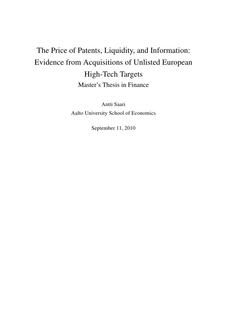 The price of patents liquidity and information   master's thesis by antti saari
