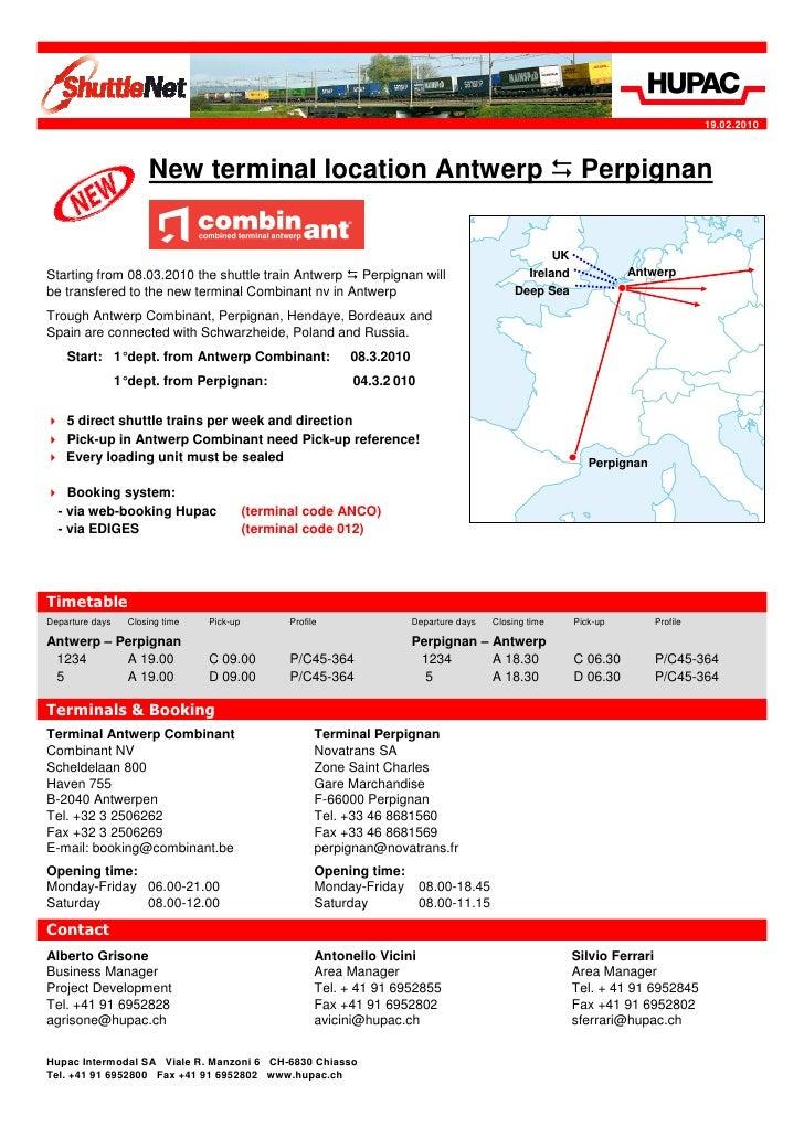 Combinant train Antwerp - Perpignan