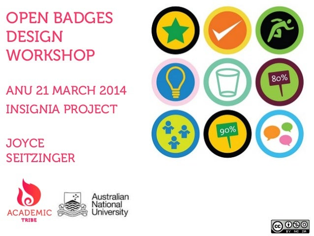 OPEN BADGES DESIGN WORKSHOP ANU 21 MARCH 2014 INSIGNIA PROJECT JOYCE SEITZINGER