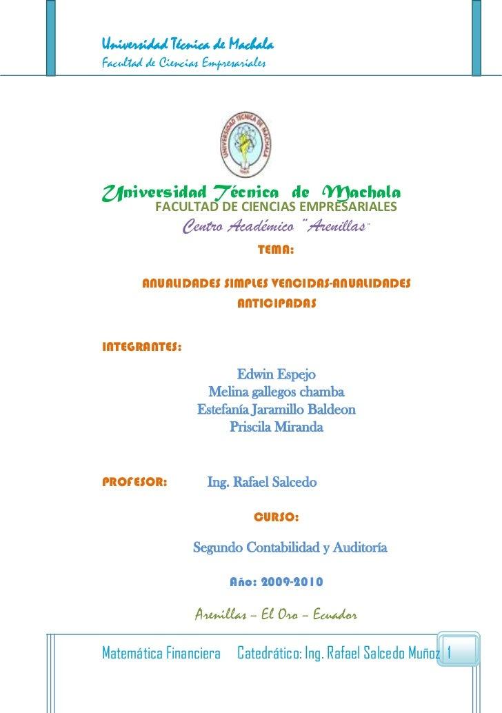 Universidad Técnica de MachalaFacultad de Ciencias EmpresarialesUniversidad Técnica de Machala           FACULTAD DE CIENC...