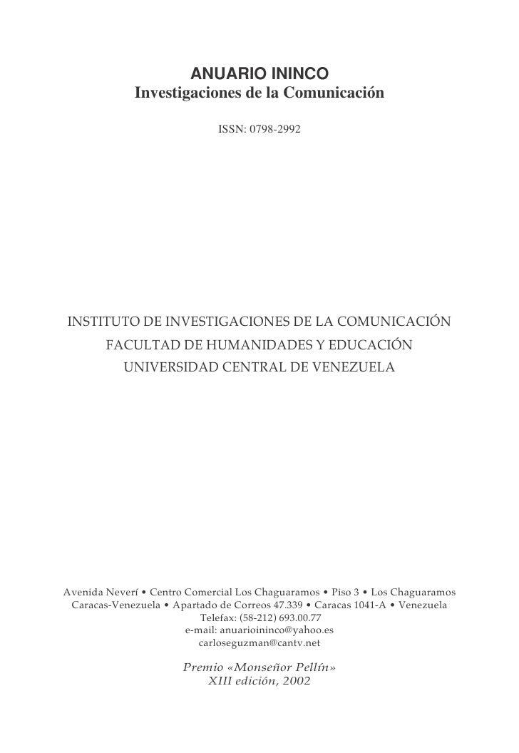 Anuario Ininco Vol17 N°2 2005 Completo Zip Economia de la Cultura y la Comunicacion